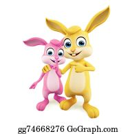 Cartoon-Farm-Animals-Card - Easter Bunny With Pointing Pose