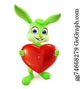 Cartoon-Farm-Animals-Card - Easter Bunny With Heart Sign