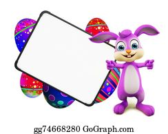 Cartoon-Farm-Animals-Card - Easter Bunny With Eggs With Signboard