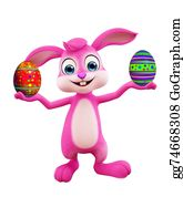 Cartoon-Farm-Animals-Card - Easter Bunny With Colourful Eggs