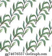 Eucalyptus - Watercolor Tree Branch Seamless Pattern.
