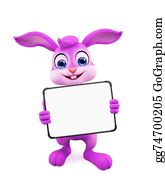 Cartoon-Farm-Animals-Card - Easter Bunny With Sign Board