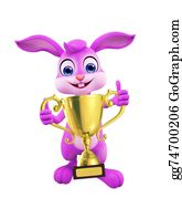 Cartoon-Farm-Animals-Card - Easter Bunny With Trophy