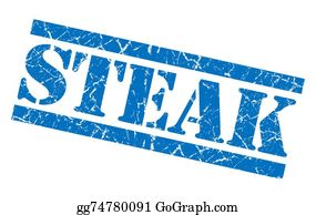 Butchers-Meat - Steak Blue Square Grunge Textured Isolated Stamp