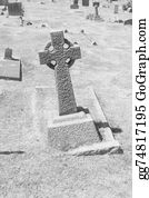 Headstone - Celtic Gaelic Stone Cross In Cemete