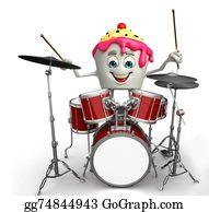 Drum-Set - Ice Cream Character With Drum Set