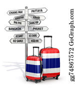 Mai - Travel Concept. Suitcases And Signpost What To Visit In Thailand