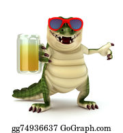 Croc - Croc With Glass Of Beer