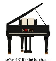 Music-Notes-On-Piano-Keyboard - Grand Piano On White