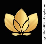 Golden-Lotus-Flower-Logo - Lotus Gold Flower Icon Vector Logo Design
