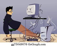 Vector Art - Old broken computer. Clipart Drawing gg75049080 - GoGraph
