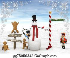 Nutcracker-Illustration - Winter Scene With Figurines.