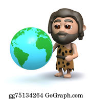 Ice-Age - 3d Caveman With A Globe Of The Earth