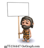 Ice-Age - 3d Caveman With A Placard