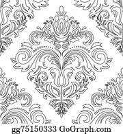 Classic-Victorian-Pattern - Damask Seamless  Pattern. Orient Background