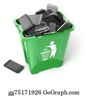 Recycle-Technology - Mobile Phones In Trash Can Isolated On White Background. Utiliza