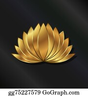 Golden-Lotus-Flower-Logo - Leafy Lotus Plant Luxury Gold Logo
