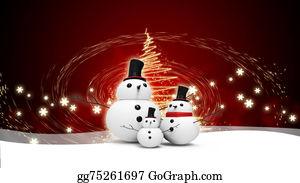 Christmas-Family - Snowman Family With Light Star