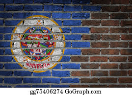Minnesota - Brick Wall Texture With Flag