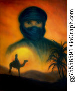 A-Palm-Tree-Sign-In-Yellow-And-Black - Sunset In Arabian Desert With Silhouette Of Arabian Man, Beauti