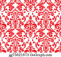 Classic-Victorian-Pattern - Vector. Seamless Elegant Damask Pattern. Red And White