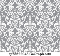 Classic-Victorian-Pattern - Vector. Seamless Elegant Damask Pattern. Grey And White