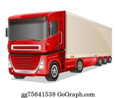 Tractor-Trailer - Big Red Truck Illustration