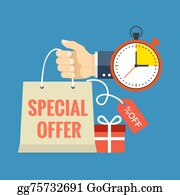 Time-For-Shopping - Limited Time Special Offer Concept. Flat Design Stylish.