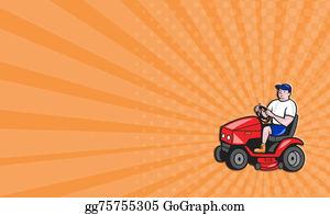 Lawn-Mower - Business Card Gardener Mowing Rideon Lawn Mower Cartoon