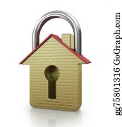 House-Alarm-Concept-Icon - House In The Shape Of A Gold Padlock. Concept Of Save.