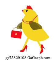 Hen - Spring Chicken Character With Bling, Handbag. Fun Hen.