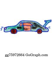 Muscle-Car - Watercolor Drawing Kids Cartoon Car On White Background