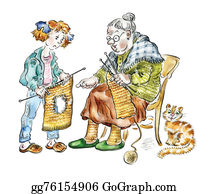The-Family-Cat - Grandma And Granddaughter Knitting
