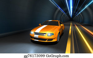 Muscle-Car - Sports Car Racing In A Tunnel