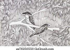 Birds-On-The-Tree-Silhouette - Bird Drawing