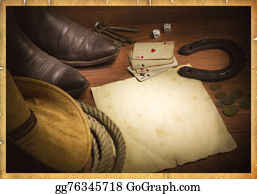 Cowboy-Boots - American West Background With Poker Cards And Cowboy Objects