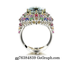 Unusual-Valentine - Ring With Diamond. Fashion Jewelry Background.