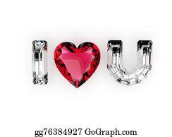 Unusual-Valentine - I Love You. Heart Shape Gemstone. Jewelry Gems