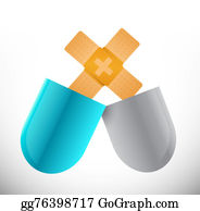 Band-Aid - Pills Band Aid Fix Solution Concept Illustration