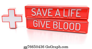 Cpr - Save A Life, Give Blood - 3d Banner, Isolated On White Backgroun
