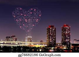 Flaming-Heart - Heart Sparkle Fireworks Celebrating Over Odaiba, Tokyo Cityscape