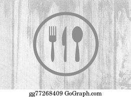Dinner-Icons - Cutlery Icons On Planked Wood Background