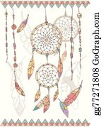 Dream-Catcher - Hand Drawn Native American Dream Catcher, Beads And Feathers