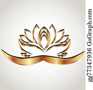 Golden-Lotus-Flower-Logo - Gold Stylized Lotus Flower Logo