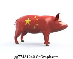 Butchers-Meat - Pork Colored With China Flag