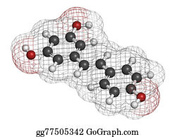 Atoms - Resveratrol Molecule. Present In Many Plants, Including Grapes And Raspberries. Believed To Have A Number Of Positive Health Effects. Atoms Are Represented As Spheres With Conventional Color Coding: Hydrogen (white), Carbon (grey), Oxygen (red).