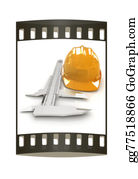 Millimeter - Vernier Caliper And Yellow Hard Hat 3d . The Film Strip