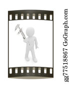Millimeter - 3d Man With Vernier Caliper. The Film Strip