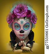 Mexican-Girl - Little Sugar Skull Girl, 3d Cg