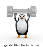 Dumb - 3d Penguin Holding Big Dumb Bell